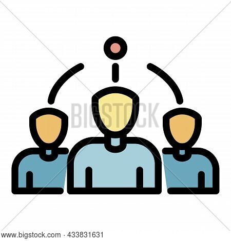 Administrator And Team Icon. Outline Administrator And Team Vector Icon Color Flat Isolated