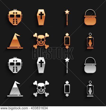 Set Skull On Crossbones, Halloween Witch Cauldron, Camping Lantern, Candy, Witch Hat, Magic Wand, Ho
