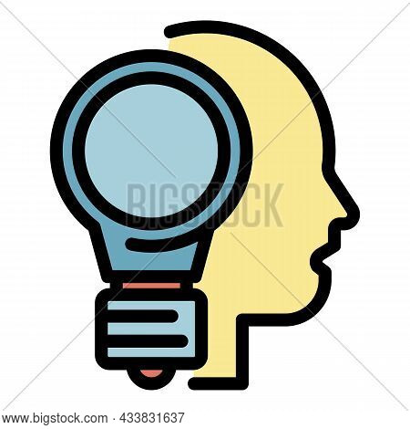 Light Bulb And Head Icon. Outline Light Bulb And Head Vector Icon Color Flat Isolated