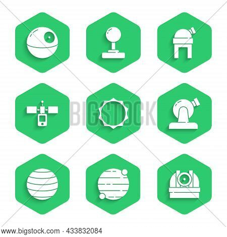 Set Sun, Planet, Astronomical Observatory, Venus, Satellite, And Death Star Icon. Vector