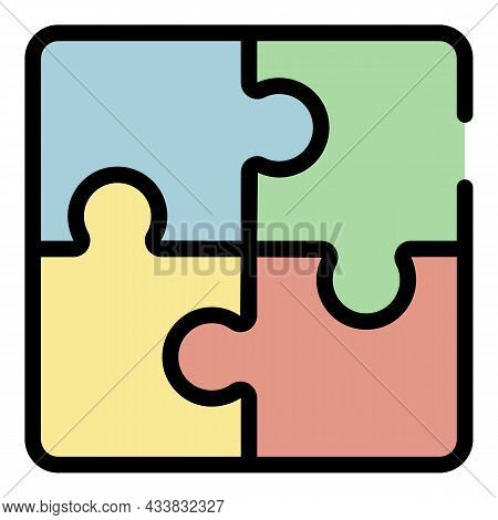 Administrative Work Puzzles Icon. Outline Administrative Work Puzzles Vector Icon Color Flat Isolate
