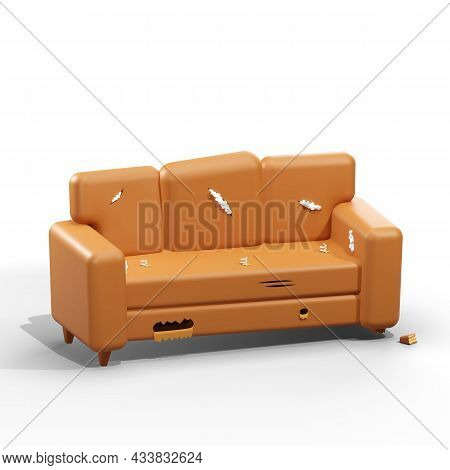 A Very Old Ripped Couch. An Old Broken Brown Sofa Needs Repair. 3d Style Illustration.