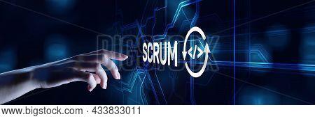 Scrum Agile Software Development Project Management Methodology Business Technology Concept
