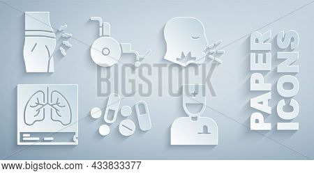 Set Medicine Pill Or Tablet, Man Coughing, Lungs X-ray, Male Doctor, Wheelchair And Abdominal Bloati