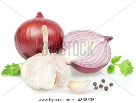 Vegetables, Spices For Cooking Onions, Peppers.