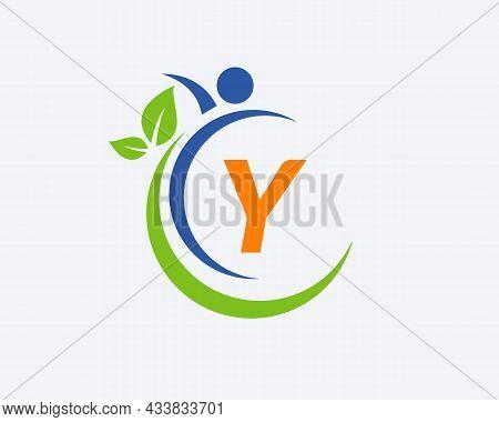 Human Health Logo On Letter Y. Letter Y Health Care Logo Template. Medical Logo Template Vector Illu