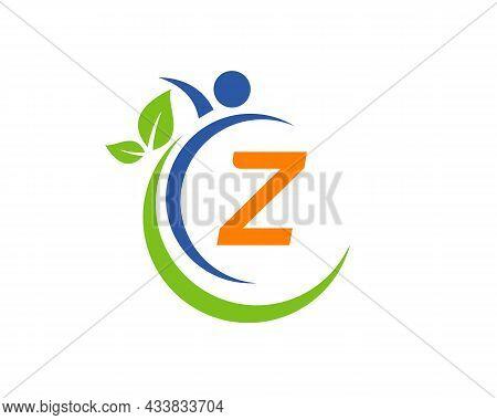Human Health Logo On Letter Z. Letter Z Health Care Logo Template. Medical Logo Template Vector Illu