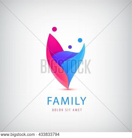 Vector Family With Kid, 3 People Group Logo. Corporate Vector Logo Design Template Isolated, Multico