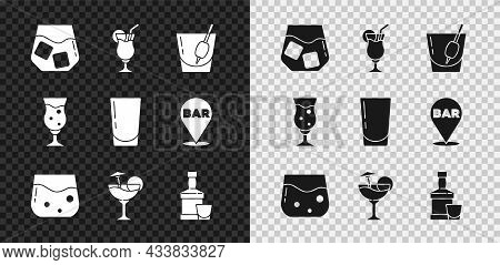 Set Glass Of Whiskey, Cocktail, Bloody Mary, Whiskey Bottle And Glass, Beer And With Water Icon. Vec