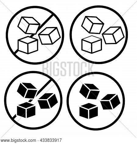 No Sugar Free Icon On White Background. Sugar Sign. Sugar Cubes Symbol. Three Cubes. Flat Style.