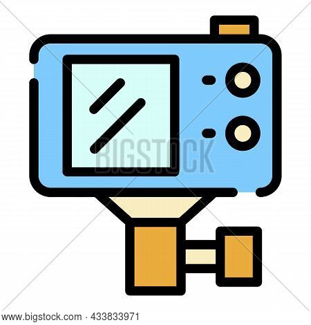 Action Camera With Mount Icon. Outline Action Camera With Mount Vector Icon Color Flat Isolated