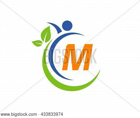 Human Health Logo On Letter M. Letter M Health Care Logo Template. Medical Logo Template Vector Illu