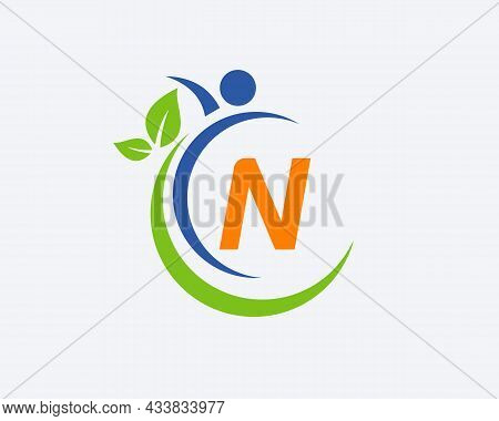 Human Health Logo On Letter N. Letter N Health Care Logo Template. Medical Logo Template Vector Illu