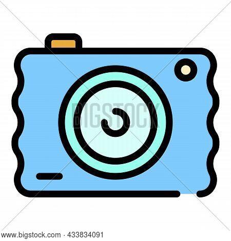 Mini Camera Icon. Outline Mini Camera Vector Icon Color Flat Isolated