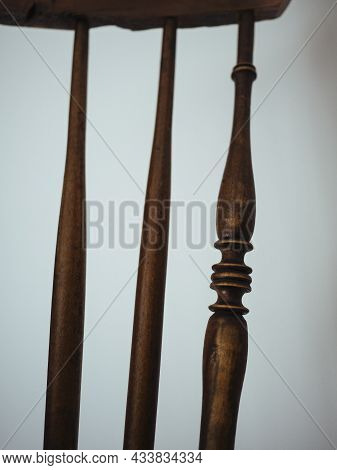 Spokes Of Back Of Simple Antique Wooden Asian Chair