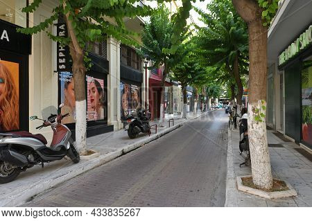 Chania - July 22: Empty Street Of Chania, Greece On July 22, 2021. Chania Is A City On The Northwest