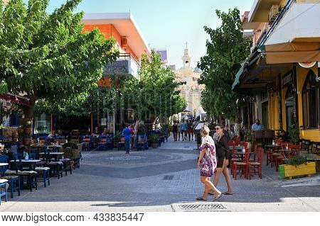 Palaiochora, July 25: Town Center Street On July 25, 2021 At Palaiochora, Greece. Palaiochora Is A S