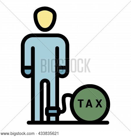 Man Tax Bomb Icon. Outline Man Tax Bomb Vector Icon Color Flat Isolated