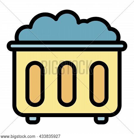 Waste Basket Icon. Outline Waste Basket Vector Icon Color Flat Isolated