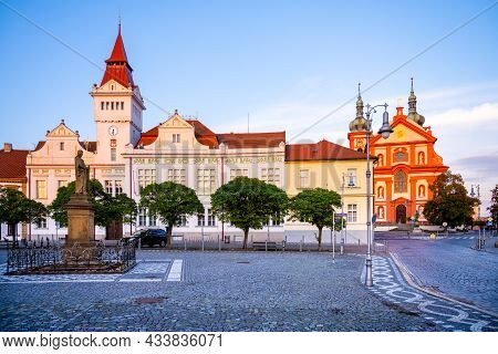 Stara Boleslav, Czech Republic - September 30, 2020: Marianske Square, Town Hall And Church In Stara