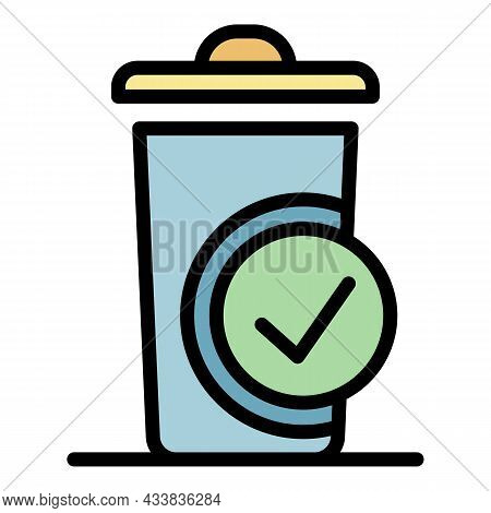 Sorted Trash Icon. Outline Sorted Trash Vector Icon Color Flat Isolated