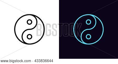 Outline Yin Yang Icon, With Editable Stroke. Linear Balance Sign, Yin Yang Tao Pictogram And Silhoue