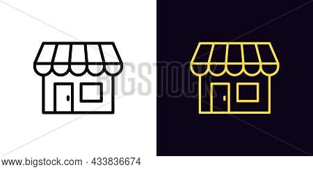 Outline Small Shop Icon, With Editable Stroke. Linear Store Sign, Storefront Pictogram And Silhouett