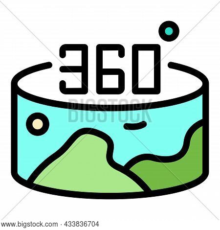 360 Vr Panorama Icon. Outline 360 Vr Panorama Vector Icon Color Flat Isolated