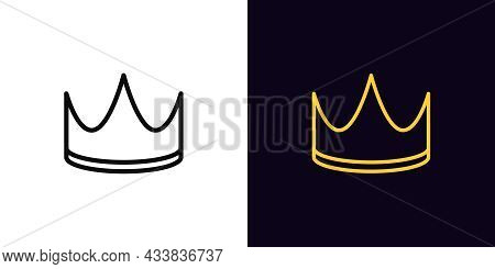 Outline Crown Icon, With Editable Stroke. Linear Corona Sign, Royal Crown Pictogram. King Or Queen G