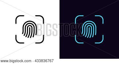 Outline Fingerprint Scanner Icon, With Editable Stroke. Linear Thumbprint Sign, Finger Print Recogni