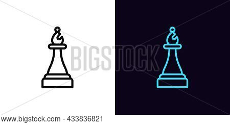 Outline Chessman Bishop Icon, With Editable Stroke. Linear Bishop Sign, Chess Piece Pictogram. Onlin