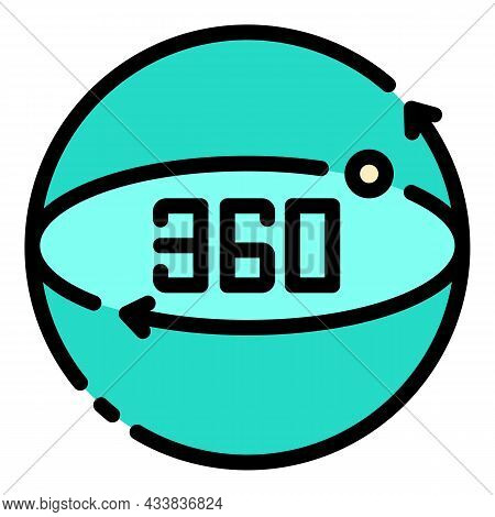 360 Augmented Reality Icon. Outline 360 Augmented Reality Vector Icon Color Flat Isolated