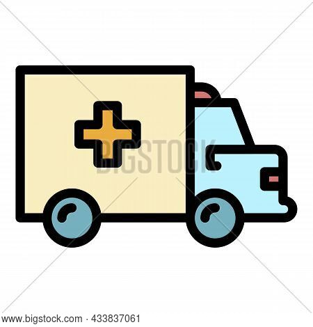 Medical Ambulance Icon. Outline Medical Ambulance Vector Icon Color Flat Isolated