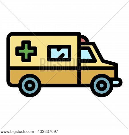 Rescue Ambulance Icon. Outline Rescue Ambulance Vector Icon Color Flat Isolated
