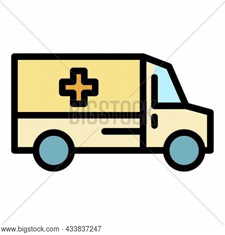 Ambulance Car Team Icon. Outline Ambulance Car Team Vector Icon Color Flat Isolated