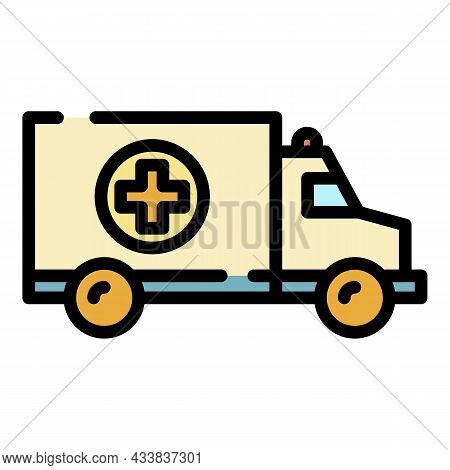 Ambulance Truck Icon. Outline Ambulance Truck Vector Icon Color Flat Isolated