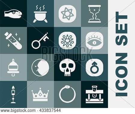 Set Bottle With Potion, Mars, Masons, Tarot Cards, Old Key, Snake And Pentagram In Circle Icon. Vect