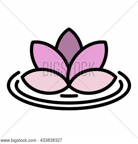 Lotus On Lake Icon. Outline Lotus On Lake Vector Icon Color Flat Isolated