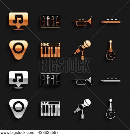 Set Music Synthesizer, Drum And Drum Sticks, Guitar, Microphone, Pick, Trumpet, Note, Tone And Sound