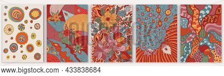 Set Of Abstract Creative Artistic Hand Drawn Templates. Trendy Contemporary Designs With Flowers, Pl