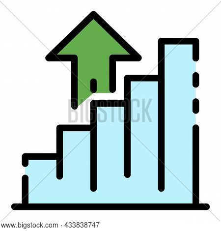 Money Graph Rise Up Icon. Outline Money Graph Rise Up Vector Icon Color Flat Isolated