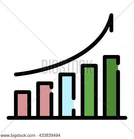 Finance Graph Grow Icon. Outline Finance Graph Grow Vector Icon Color Flat Isolated