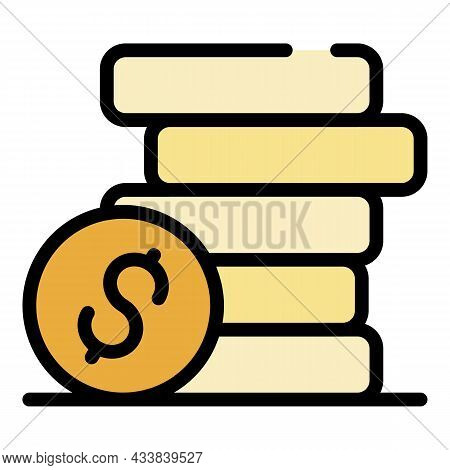 Dollar Coin Stack Icon. Outline Dollar Coin Stack Vector Icon Color Flat Isolated