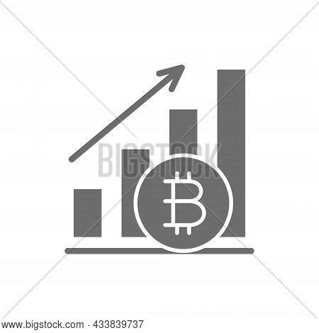 Upward Graph, Bitcoin Coin, Cryptocurrency Grey Icon.