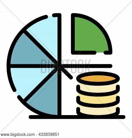 Coin Pie Chart Icon. Outline Coin Pie Chart Vector Icon Color Flat Isolated