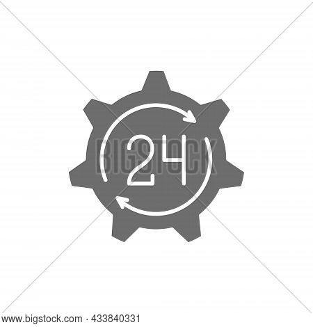 24 Hours Technical Service, Support Time Grey Icon.