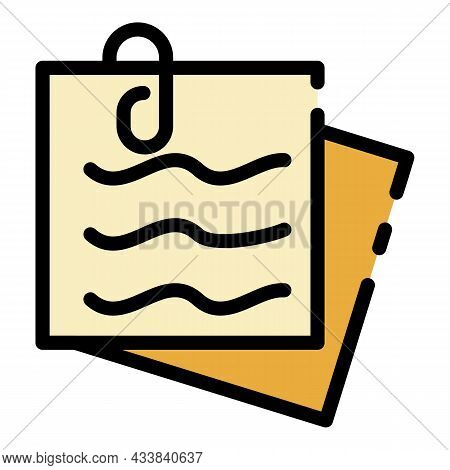 Office Sticker Icon. Outline Office Sticker Vector Icon Color Flat Isolated