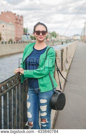 Beautiful Stylish Woman Posing In The City