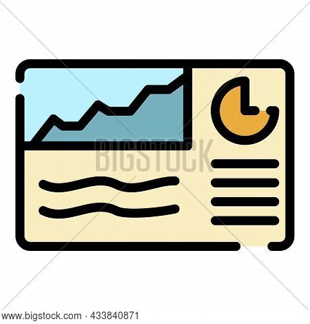 Finance Chart Poster Icon. Outline Finance Chart Poster Vector Icon Color Flat Isolated