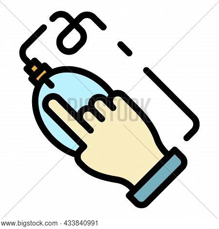 Hand Click On Mouse Icon. Outline Hand Click On Mouse Vector Icon Color Flat Isolated